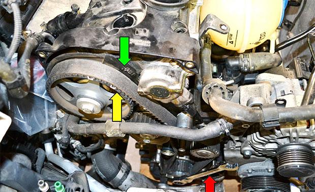 передняя часть двигателя